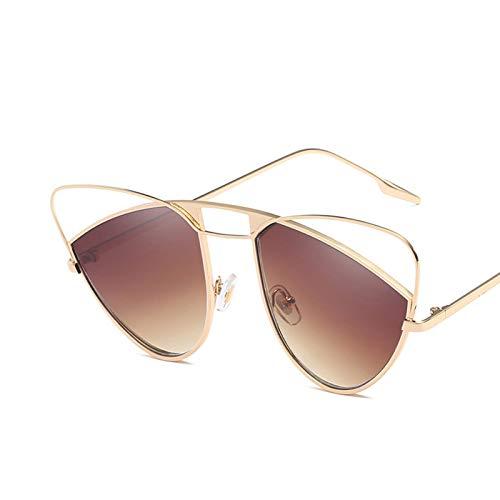 KnSam Polarisierte UV400 Schutz Ultraleicht Rahmen Gewölbte Katzenauge Form Unisex Gold Braun Sonnenbrillen Fahrerbrille