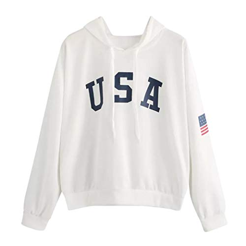 Damen Brief Fahne Gedruckt Hoodies Pullover,Yanhoo Mode Frauen USA Brief Bedrucktes Lässige Locker Sweatshirt Langen Ärmel Pullover Tops...