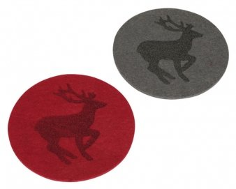 Preisvergleich Produktbild Untersetzer, Filz, Alpenland-Stil, Hirschmotiv, 4er-Pack