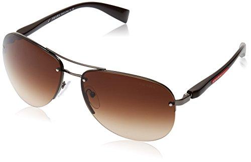 Prada Sport Herren 0PS56MS 5AV6S1 65 Sonnenbrille, Grau (Gunmetal/Brown), (Pradas Für Männer)