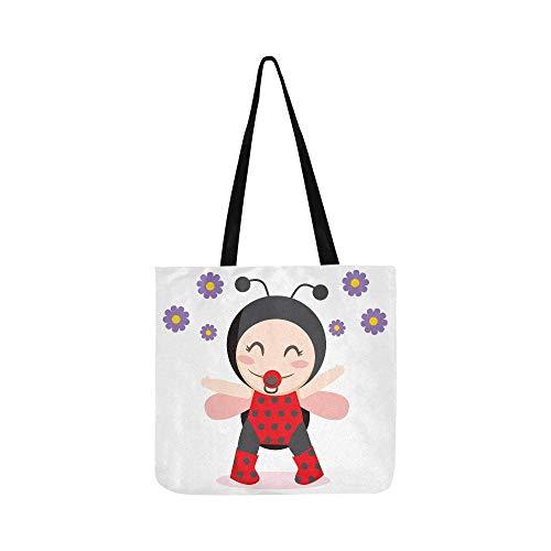 Niedliche Cartoon-Mädchen mit einem Marienkäfer Canvas Tote Handtasche Schultertasche Crossbody Taschen Geldbörsen für Männer und Frauen Einkaufstasche