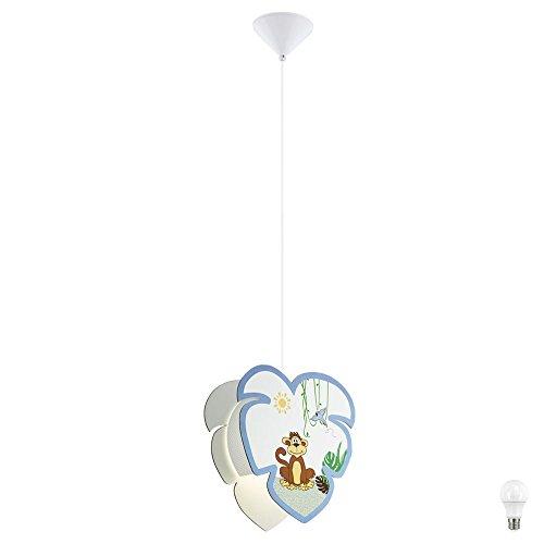 Pendel Lampe Spiel Zimmer Holz Schirm Affen Motiv Tier Hänge Leuchte im Set inkl. LED Leuchtmittel