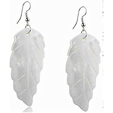 CAIerd Vintage Natural Natural Sea Shell fiore bianco Drop Dangle Earring(1Pair)