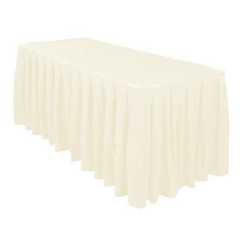 Plissiert Tisch Rock mit Nylon Verschluss Polyester Tuch Easy Aufsatz Maschinenwaschbar und Trockner Freundlich - Geburtstagsfeiern, Hochzeiten und Formale Feiern - Creme, 21 Feet (Schwarz Tisch Rock)