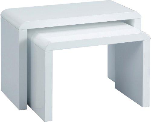 HomeTrends4You 510950 2-Satztisch, 59 x 41 x 30 cm, weiß Hochglanz