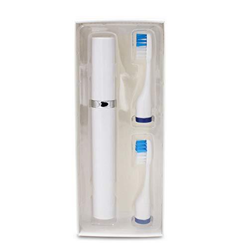 DDG EDMMS Elektrische Zahnbürste Wasserdichte Reisezahnbürste elektrische Zahnbürste die Zähne Zwei Ersatzkopf weiß (Trockenbatterie) Haushaltswaren