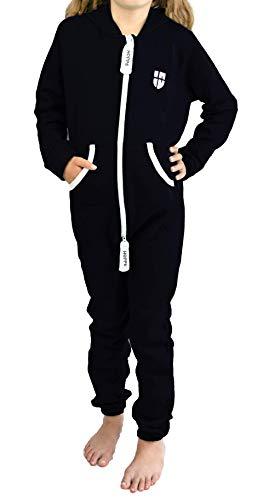 Gennadi Hoppe Kinder Jumpsuit Overall Jogger Trainingsanzug Mädchen Anzug Jungen Onesie,schwarz,11-12 Jahre
