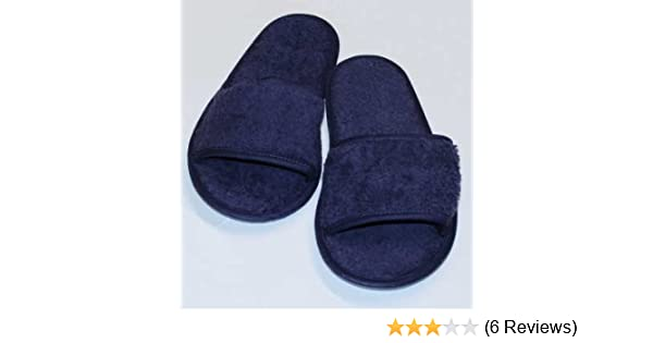 70cc84ba69 hochwertige Frottee Slipper blau mit offenen Zehen, Classic Terry Slipper /  Schuhe / Hausschuhe / Pantoletten / Hotelslipper / Badeschuhe: Amazon.de:  Sport ...