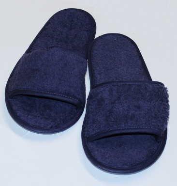 hochwertige Frottee Slipper blau mit offenen Zehen, Classic Terry Slipper / Schuhe / Hausschuhe / Pantoletten / Hotelslipper / Badeschuhe, Gr. 42 - 46