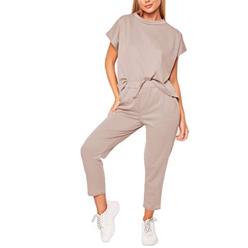 Provide The Best 2ST Frauen-Frühlings-Sommer-Pure Color Trainingsoberteil Hosen eingestellt Damen Freizeit-Anzug -
