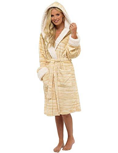 rgenmantel Shaggy Soft Fleece Frauen Kleider Robe Bademantel Loungewear für sie (S, Champagner-Farben) ()