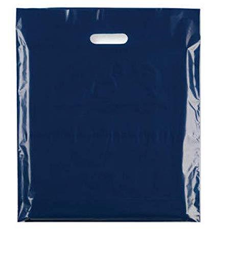 Sabco Tragetaschen, 20 x 30 cm, 100 Stück, bunte modische Kunststofftüten für Shopping, Boutiquen, Geschenkgeschäfte dunkelblau