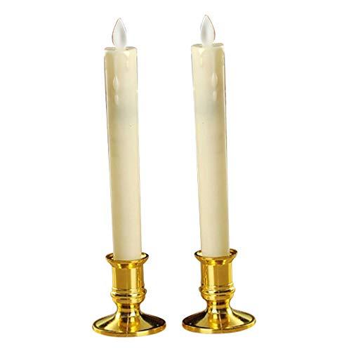 PETSOLA 2pcs/Set Flammenlose Flackernde LED Kerzen Teelicht Batteriebetrieben - Gold B