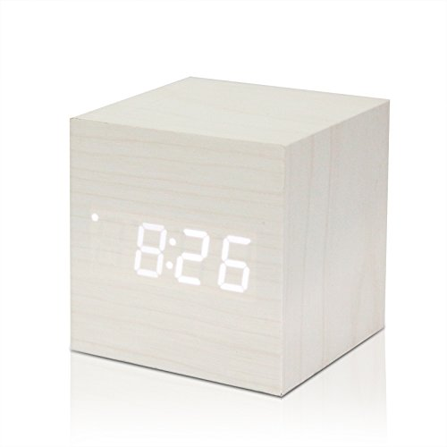 allomn Cubo di legno a LED, sveglia digitale, orologio da tavolo, Voice Control, termometro, timer, calendario White (white led)