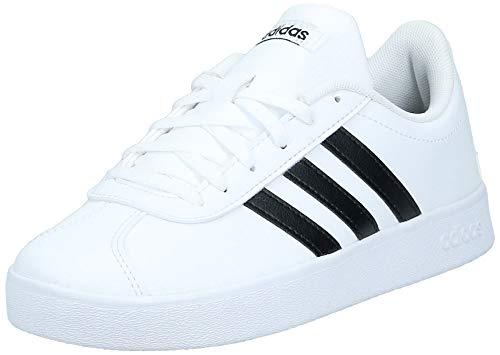 Adidas Vl Court 2.0 K, Zapatillas de deporte Unisex niños, Blanco Ftwbla/Negbas 000, 35.5 EU