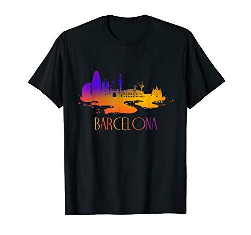 Schöne Silhouette der Skyline von Barcelona City T-Shirt
