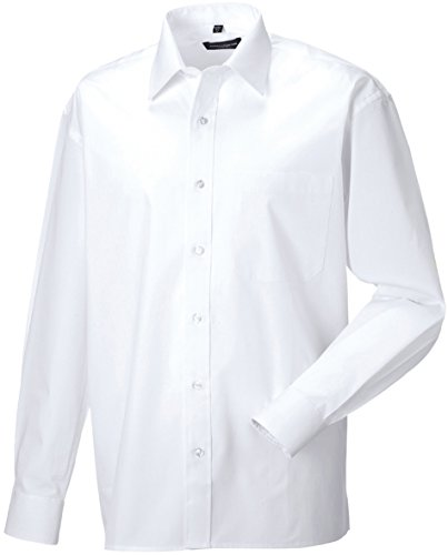 Russell Collection - Chemise en popeline pur coton homme Russel white