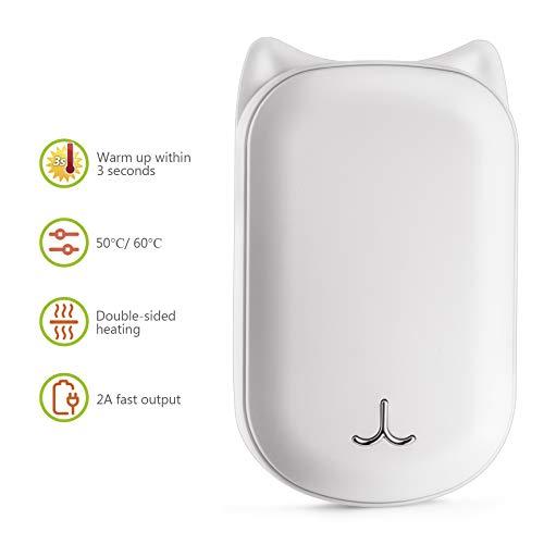 CENXINY Handwärmer Wiederaufladbar, 6000mAh Tragbarer Taschenwärmer Elektrischer Handwärmer, Doppelte Seitenheizung, Powerbank Handwärmer USB mit Grußkarte