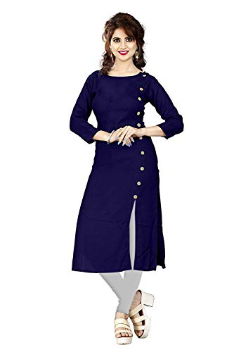 New Party Wear Plain & Solid Rayon Kurti For Women Blue