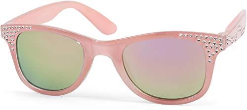 styleBREAKER Mädchen Nerd Sonnenbrille mit Strass, Kunststoff Rahmen und Polycarbonat Flachgläsern, Kinder 09020087, Farbe:Gestell Rose/Glas Pink verspiegelt