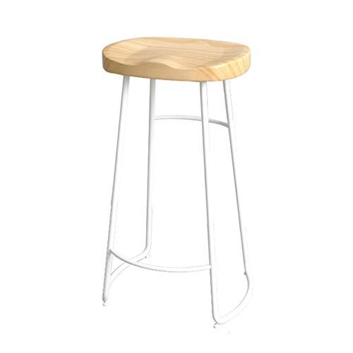 Nordic Holzhocker Metallrahmen Rustikale Einfache Esszimmerstuhl mit Fußstütze Bar Stuhl für Küche Freizeit Bar Pub Hohe 45/65/75 cm