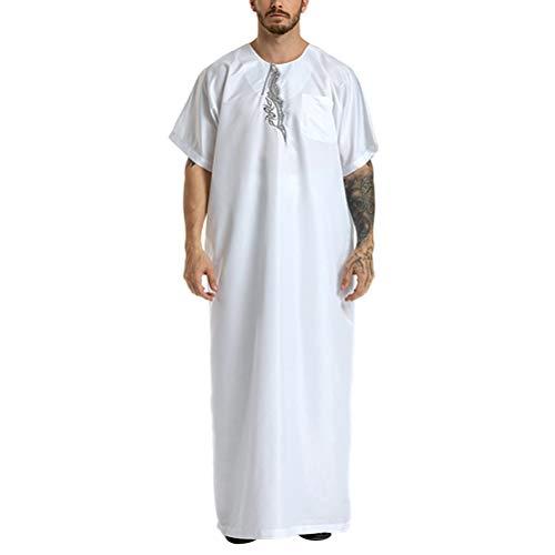 VHFIStj Thobe der Männer Muslimischer Abaya Kaftan Dubai Kleid Islamische Kleidung Jalabiyas Kleid Halbe Lange Kaftane in Übergröße für Türkisches östliches ()