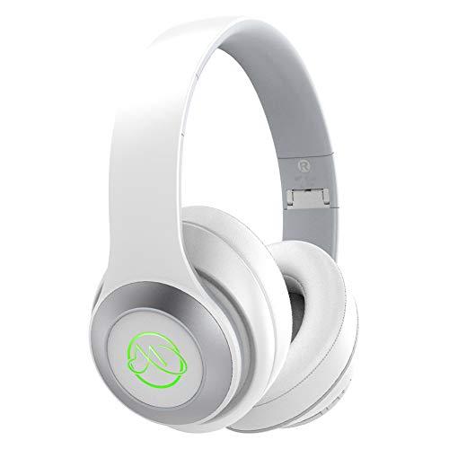 Wireless Kopfhörer Over Ear HiFi Deep Bass Bluetooth 5.0 Kopfhörer Kabellos mit Mikrofon,20 Std Spielzeit SportKopfhörer ohne Kabel,Faltbarer Bügelkopfhörer für Handy PC Laptop TV Weiß (MEHRWEG)