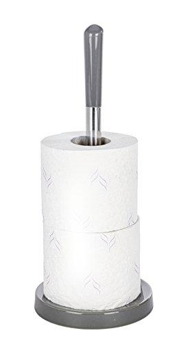 Wenko 22007100 Polaris Porte-Rouleaux de Papier Hygiénique de Rechange Céramique Gris 14,0 x 14,0 x 35,5 cm