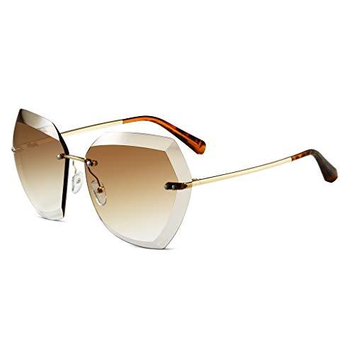 LDY Sonnenbrille für Frauen, Flache Gläser, Metallrahmen-Sonnenbrille, Gold