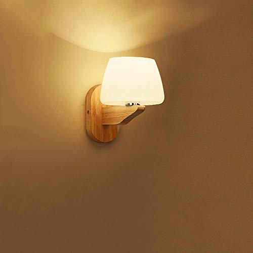 Japanisches festes Holz-einzelne doppelte Hauptwandleuchte Einfache moderne Wandleuchte des Glas-E27 kreative Schlafzimmer-Bett-Wohnzimmer-Gang-Studien-Wand-Leuchter-Scheinwerfer ( ()