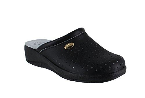 San Malo Womens Leather Clogs Kitchen Garden Heeled Mules Shoes - Main Colour: Black | Shoe Size: UK 5