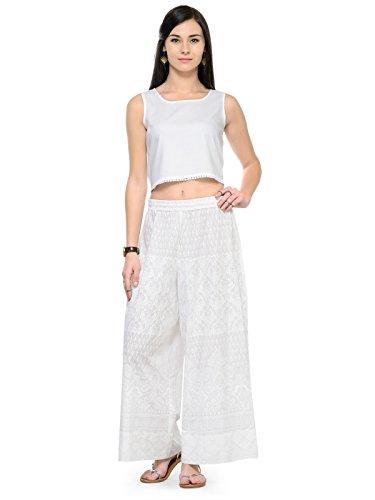 Varanga Women's White Cotton SolidPalazzo