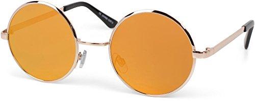 styleBREAKER Sonnenbrille verspiegelt mit runden, flachen Gläsern und Edelstahl Metall Gestell, Unisex 09020064, Farbe:Gestell Gold/Glas Orange-Rot verspiegelt