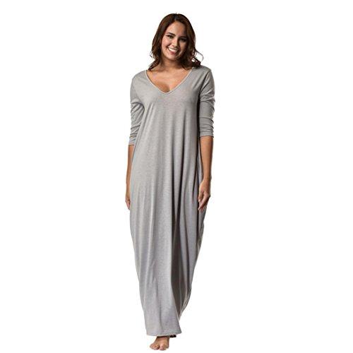 Kanpola Damen Nachthemden Kleid Lang Große Größen Locker Winter Worm Baumwolle Bademäntel Morgenmäntel Elegant Schlafanzüge Nachtwäsche (3XL/46, Y2-Grau)