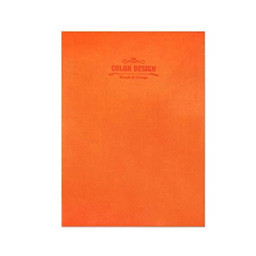 Mode Einfache Farbe Weiches Leder Notizblock Dicke Farbe 16 Karat Tagebuch Notebook Notebook Kreative Notebook Schreibwaren (Color : Orange)
