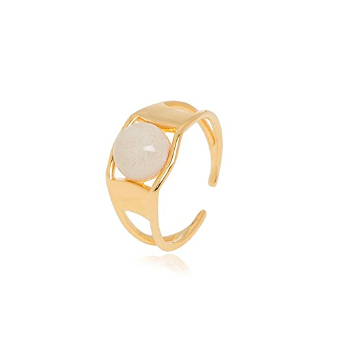 Louise Kragh Ring Gold Damen - Breiter Goldring Arch-Serie Beige Kaschmir Kugel Keramik 925 Sterling Silber vergoldet Größe 54-56 - ARC0401CASg55
