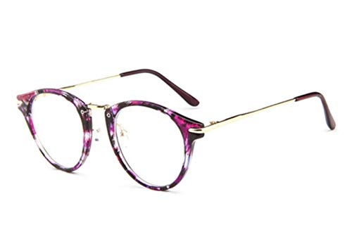 Nerd klares Licht Brillengestell Luxusmarke Design voll runden Brillengestell koreanischen Retro klar für Frauen für Männer, Mixed Purple