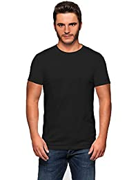 Spruce Up Men's Plain Black Round Neck Half Sleeve Cotton Tshirt
