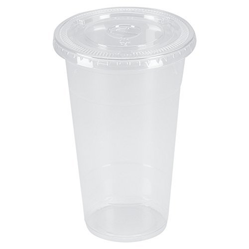 benail 100Sets 24Oz Kunststoff Crystal Clear Cups mit flachen Deckel für kalte Getränke, Eiskaffee, Bubble Boba, Tee, Smoothie etc.. 24 Oz Crystal