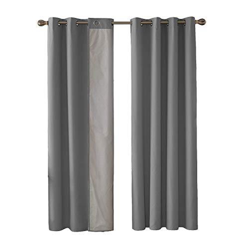 Deconovo Oxford Vorhänge für Wohnzimmer Thermovorhang Gardinen 240x135 cm Grau 2er Set