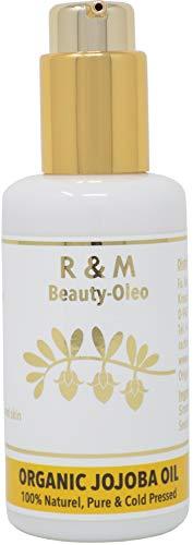 R&M Jojobaöl - 100% Bio Jojoba Oil Kaltgepresst Für Gesicht, Körper, Haar Und Vieles Mehr - Schöne Haut, Ein Reines Gesicht & Glänzendes, Kräftiges Haar - Fair Trade 100ml Pump-Flasche