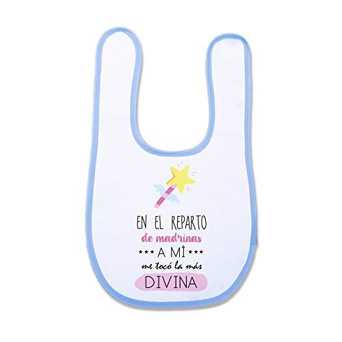SUPERMOLON Babero Bebé En el reparto de madrinas a mi me tocó la más divina Azul celeste con velcro