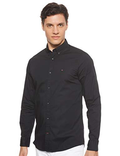 Tommy Hilfiger Herren CORE STRETCH SLIM POPLIN SHIRT Freizeithemd, Schwarz (Flag Black 083), Medium