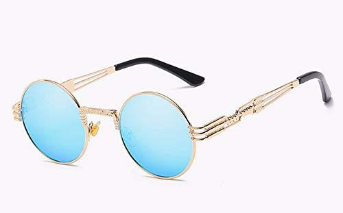 WSKPE Sonnenbrille Sonnenbrille Männer Frauen Brillen Aus Metall Runde Schattierungen Sonnenbrillen Spiegel Uv400 Brillen (Goldene Rahmen Hellblau Objektiv)
