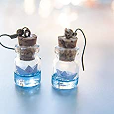 Pendientes de botella con barco de papel Mar en botella, joyeria barco origami.