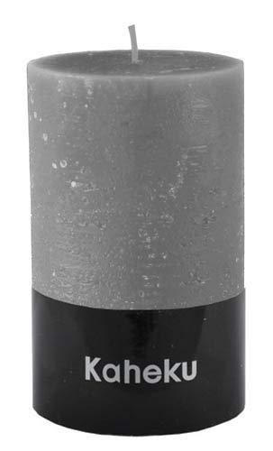 Kaheku Rustik Stumpenkerze grau Cylinderkerze steingrau durchgefärbt d7 h15 cm