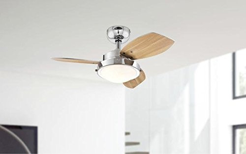 31FdpRQhj%2BL - Westinghouse Ceiling Fans 78763 Wengue One-Light 76 cm Three-Blade Indoor Ceiling Fan, Chrome Finish with Opal Frosted…