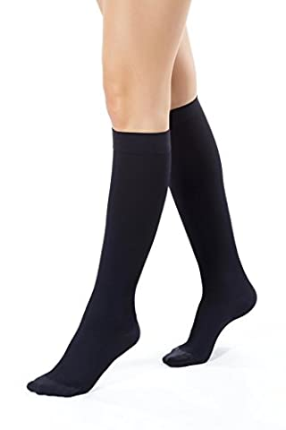 ®BeFit24 Knee High Graduated Flight Compression Support Socks (15-21 mmHg, 140 Denier, Class 1) for Women – Great for DVT, Oedema, Swelling, Fatigue, Varicose and Spider Veins Prevention, Improves Circulation - Black