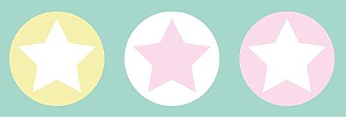 lovely label Bordüre selbstklebend STERNE BUNT - Wandbordüre Kinderzimmer / Babyzimmer mit Sternen in versch. Farben - Wandtattoo Schlafzimmer...