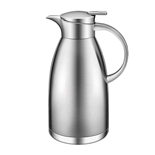 WLHW Trinkflaschen 2L Edelstahl-Thermos-Kaffee-Karaffe, doppelwandiges Vakuum Isolierkaffeetopf-Krug-Leck-Beweis-Hitze-Kälte-Zurückhaltung (Farbe : Silber) -